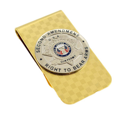 Second Amendment Gun Permit Gold Money Clip