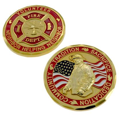 Volunteer Fire Department Firefighter Challenge Coin
