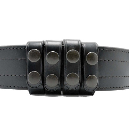"Perfect Fit Duty Belt Keepers 3/4"" Plain Genuine Leather black snaps"