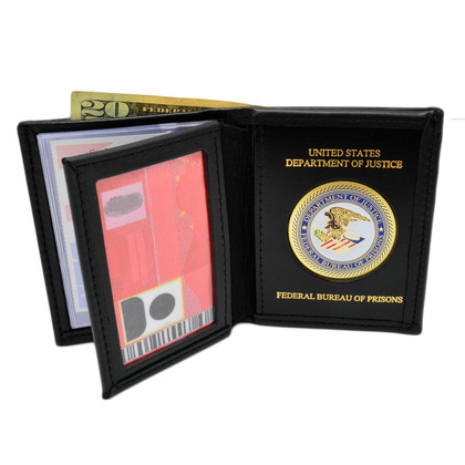 Bureau of Prisons Mens Black Leather Bi Fold Billfold Wallet