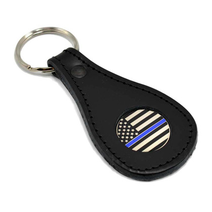 Thin Blue Line Subdued Flag Leather Key Ring