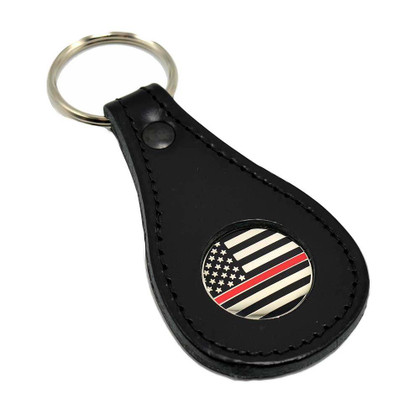 Thin Red Line Subdued Flag Firefighter Leather Key Ring