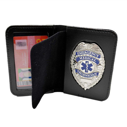 EMT Emergency Medical Technician Silver Badge & Wallet