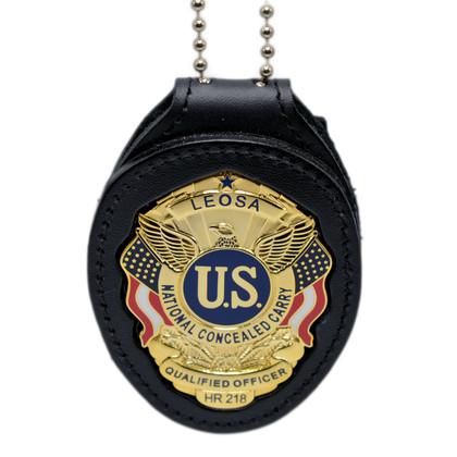 LEOSA Qualified Officer Clip On Belt Neck Chain Leather Badge Holder