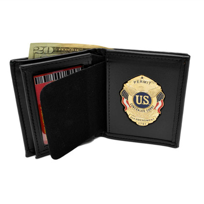 Concealed Carry Badge and Bi-fold Men's Leather Wallet