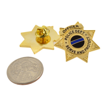 Police Officer 7 Point Star Mini Badge Lapel Pin