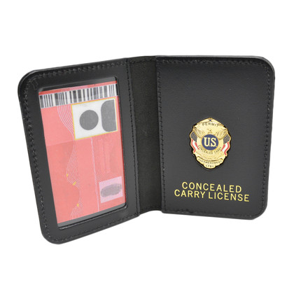 Concealed Carry License Document Holder Leather Case Mini Badge