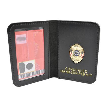 Concealed Handgun Permit Document Holder Leather Case Mini Badge