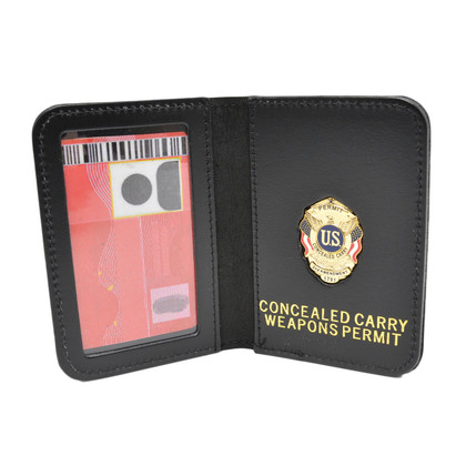 Concealed Carry Weapons Permit Document Holder Leather Case Mini Badge