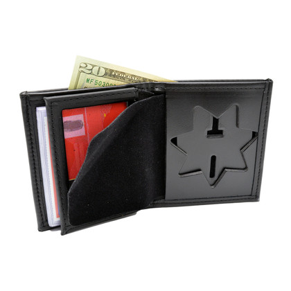 AZ Corrections Recessed Police Badge Leather Wallet - 7 PT Star