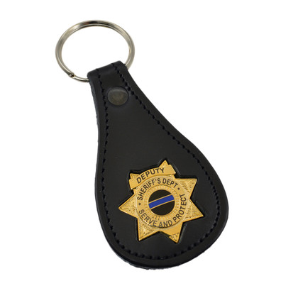 Blue Line Star Badge Leather Key FOB Ring
