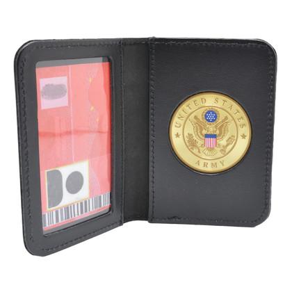 U S Army Medallion Leather Single ID Card Holder