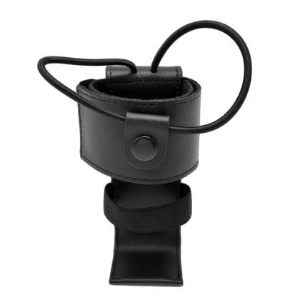 Cobra Tufskin Adjustable Radio Holder Black Leather w Shelf