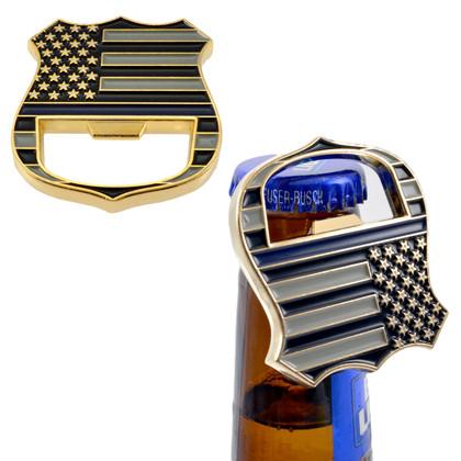 Blue Line Challenge Coin Bottle Opener Police Subdued Flag Church Key