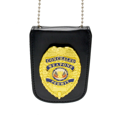 Universal Badge and ID Holder with Concealed Weapons Badge