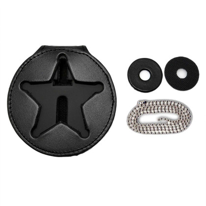 Ohio Sheriff 5 Pt Star Belt Clip Badge Holder with Neck Chain
