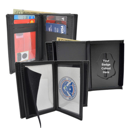 Perfect Fit Model 125-A Double ID Federal Style Badge Wallet - Custom Cutout