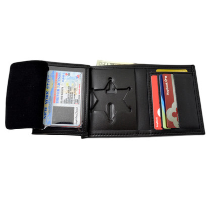 6 Point Sheriff Star Bi Fold Black Leather Badge Wallet - B812 S534