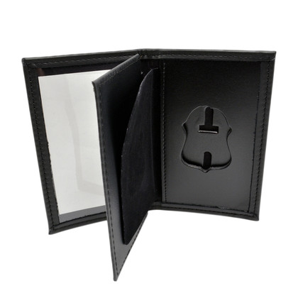 FBI Dress Leather Book Style Badge Case With Double ID