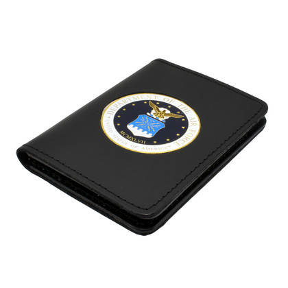 Perfect Fit Double ID Duty Leather ID License Case - Air Force Medallion
