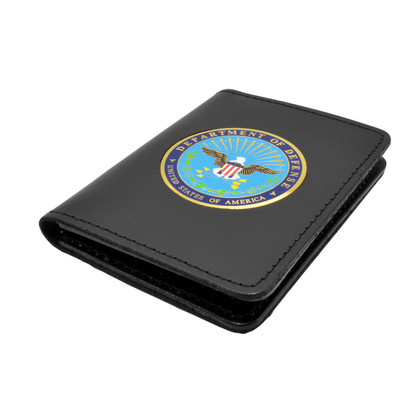 Perfect Fit Double ID Duty Leather ID License Case - DOD Medallion