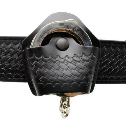 Open Top Leather Handuuff Case - Basketweave