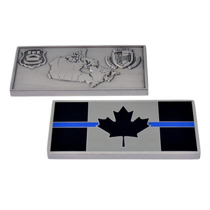 Thin Blue Line Canada Customs Challenge Coin - CBSA Badge - Canada Flag