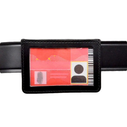 Leather Horizontal ID Holder w/ Belt Clip