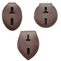 Universal Badge Holder Brown Leather Clip On Belt Neck Hanger w/Chain
