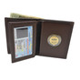 brown Bifold Leather Wallet with Challenge Coin Pouch
