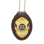Concealed Carry Permit Clip On Belt Neck Chain Leather Badge Holder - Brown