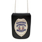 Leather Badge and ID Holder with Concealed Weapons Badge