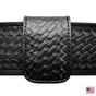 1.75 Inch Double Wide Leather Belt Keeper - Basketweave - Hidden Snap
