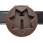 California Illinois Corrections Recessed Belt Clip Badge Holder with Pocket and Chain - double thick cut-brown