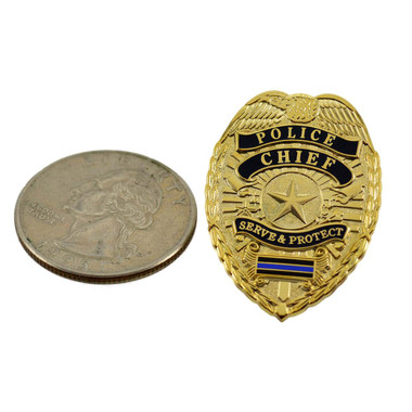 Police Chief Mini Badge Blue Line Mini Badge Generic