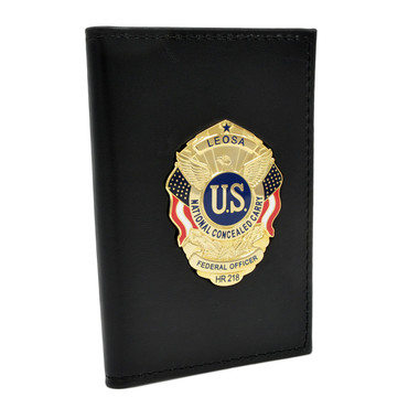 Perfect Fit Duty Leather Double Id Case With Hr218 Leosa Badge