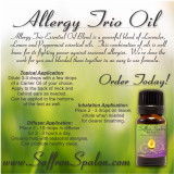 Allergy Trio Essential Oil Blend • 100% Pure, Natural & Therapeutic Grade Allergy Trio Essential Oil Blend is a powerful blend of Lavender, Lemon and Peppermint essential oils.  This combination of oils is well know for its fighting power against seasonal allergies.  We've done the work for you and blended them together in an easy to use formula.