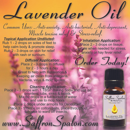 Lavender Essential Oil • 100% Pure, Natural & Therapeutic Grade • Common Uses: Anti-depressant, stress-relief, anti-anxiety, muscle tension relief, and anti-bacterial.