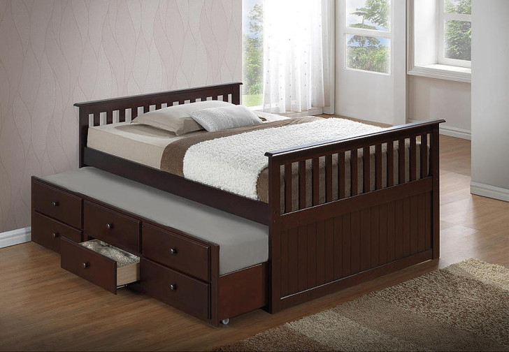 Kawartha Captain Trundle Bed with Drawers Espresso