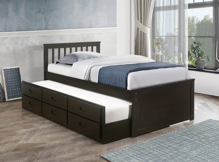 Huron Captain Bed with Trundle and Storage Drawers Espresso