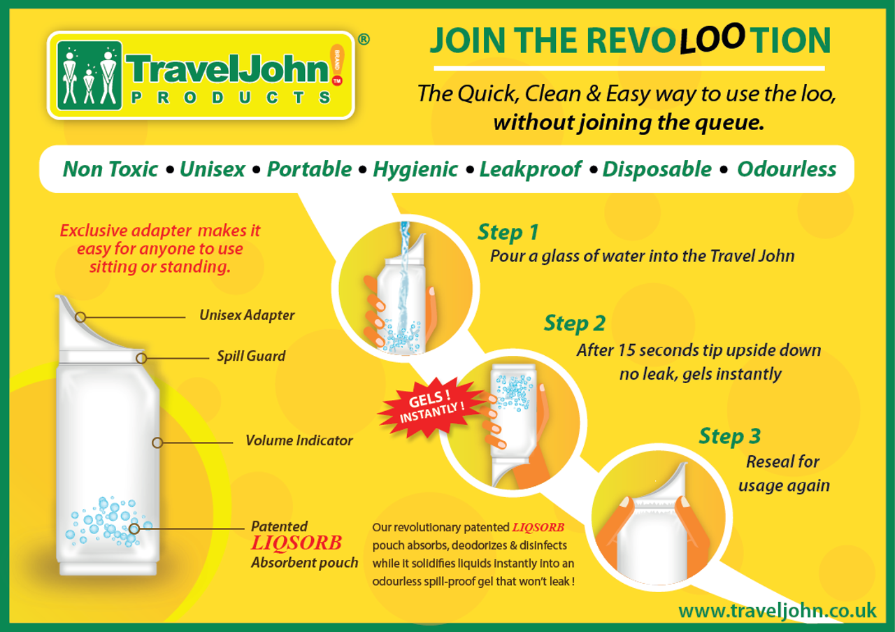 2 x Travel John 3 pack Unisex Disposable//Resealable Urinals