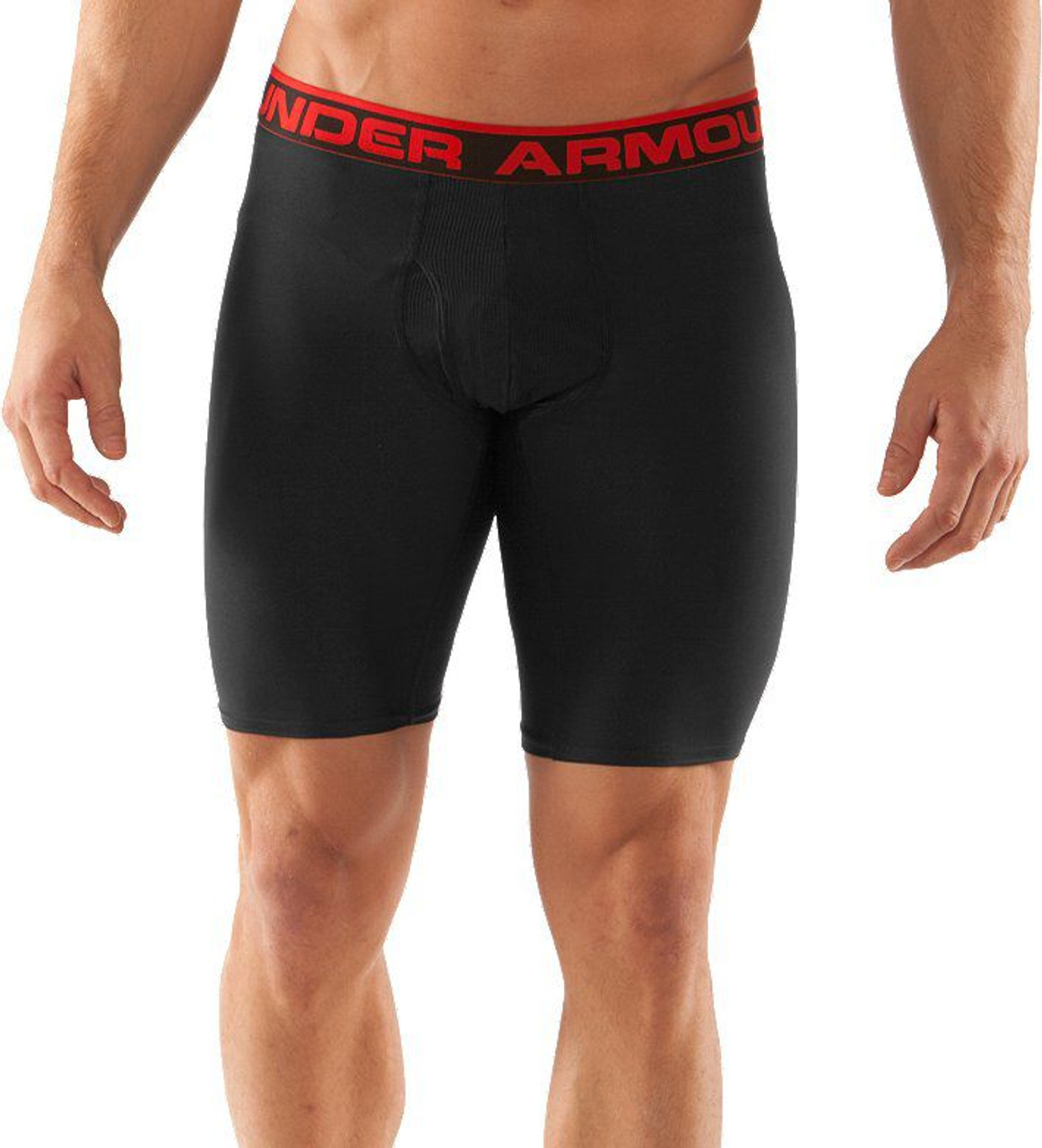 """b8ac6369a9 Under Armour Men's Original Series 9"""" Boxer Jock Boxer Briefs, Black / Red  
