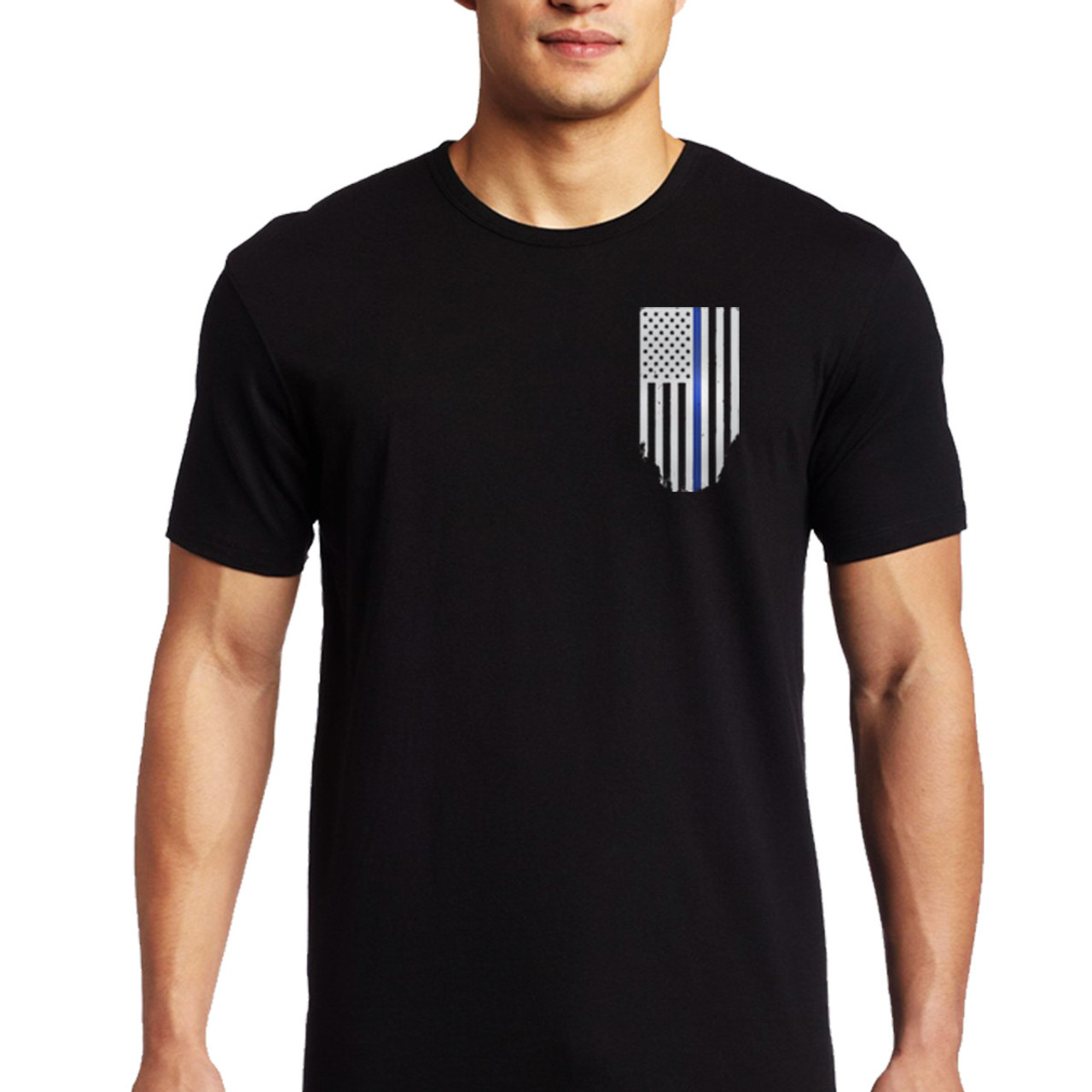 2c8e4ad2 Thin Blue Line Men's Black Flag Short Sleeve T-Shirt | Free Shipping on All  Orders