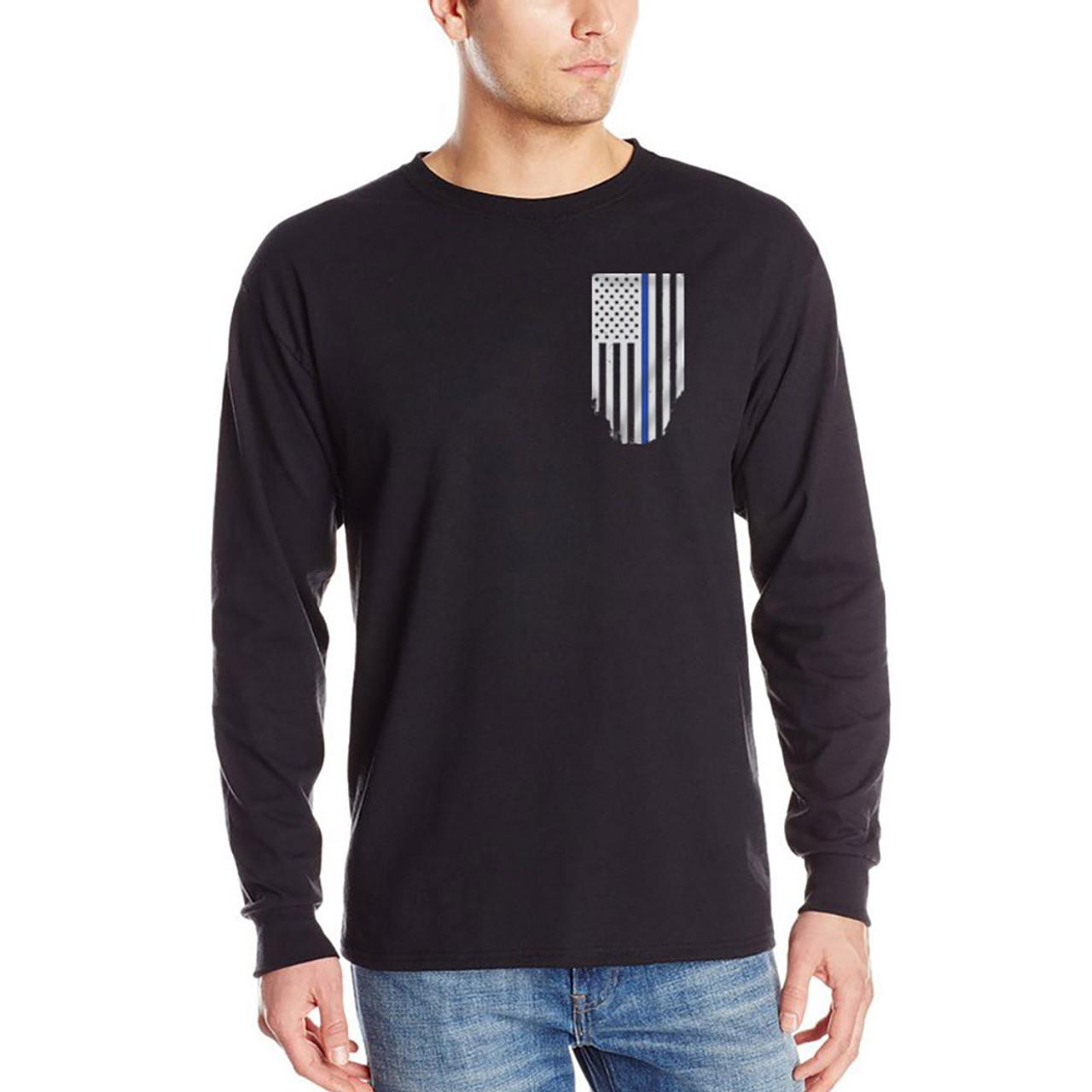 504309366cc2b Thin Blue Line Men's Black Flag Long Sleeve T-Shirts
