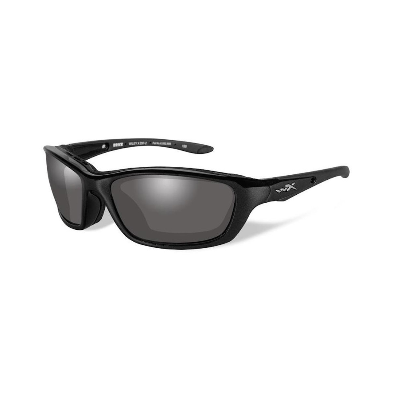 Wiley X 856 Brick Smoke Grey Lenses Gloss Black Frame Ballistic Sunglasses 7058ccb964