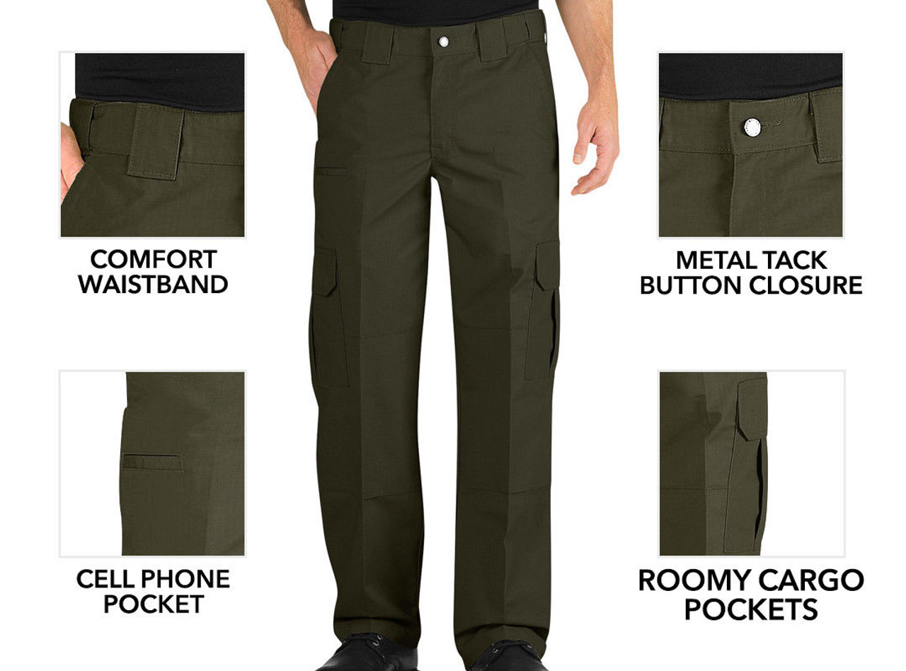 on feet images of fashion style of 2019 luxury aesthetic Dickies LP703 Relaxed Fit Lightweight Ripstop 65/35 Polyester/Cotton  Tactical Green Pants