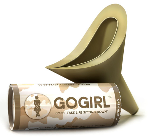 Go Girl Female Urination Device Camouflage Tube with Khaki GoGirl. - Includes re-usable tube, baggie and tissue. - It's a kit in a tube ready to go! - Made from Medical Grade Silicone.