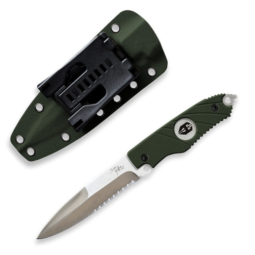 Hoffner Hand Spears Fixed Blade Knives w/ Sheaths - OD Green Grip w/ Combo Silver Blade