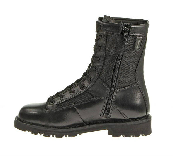 "Bates E03140 Black 8"" Side Zip Leather Boots"