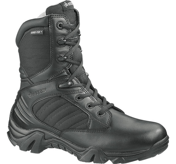 "Bates E02268 Black 8"" Leather Side Zip Waterproof Boots"